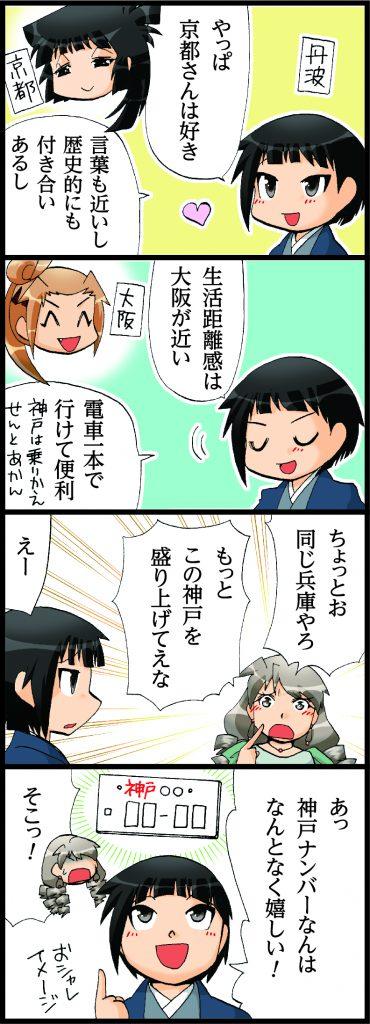 【丹波のエピソードマンガ(エピソードマンガ4コマ)】神戸への想い